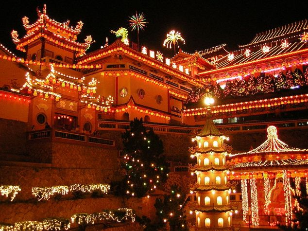 The Ke Lok Si Temple in Penang, Malaysia during Chinese New Year