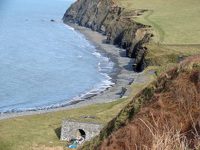 Near Wallog, Wales with West Coast Path along the coast