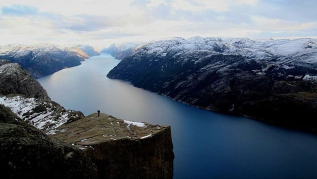 """Norway's Lysefjord with """"Pulpit Rock"""""""