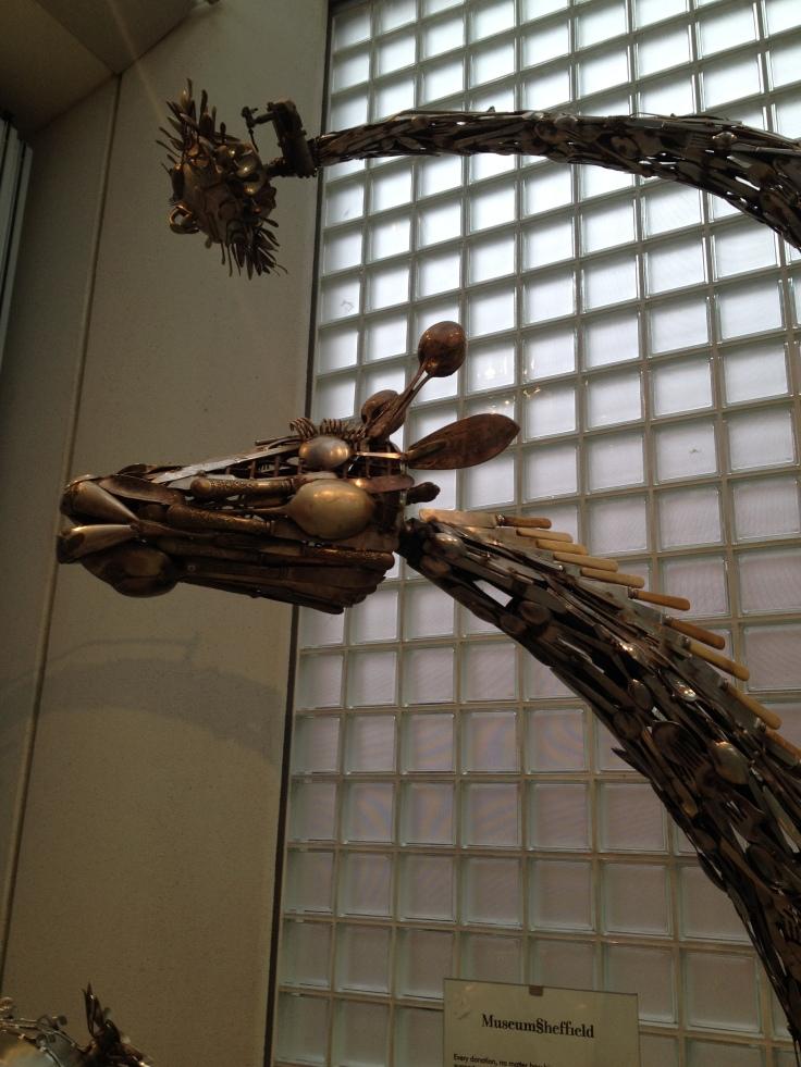 Dragon made from stemware, Millennium Gallery in Sheffield