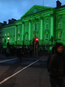 Trinity College lit up green for St Patrick's Day
