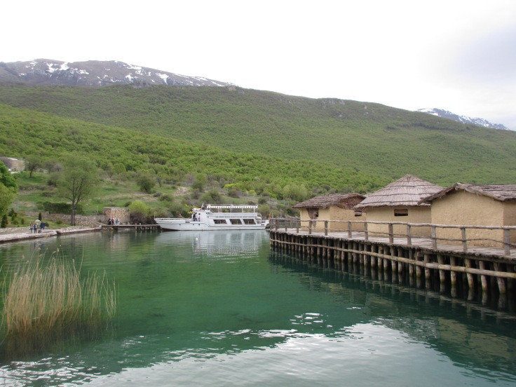 Reconstruction of old village on lake at Bay of Bones