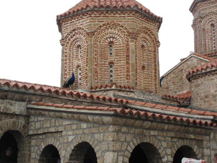 At the Monastery of St Naum, notice the peacock on the roof
