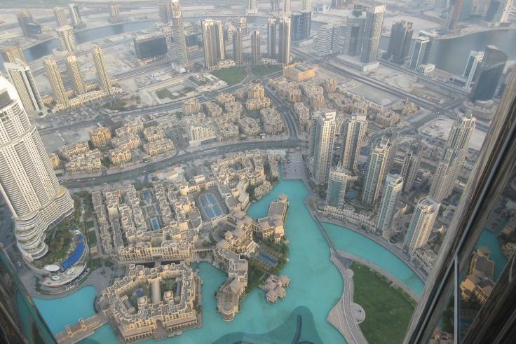 View of Dubai from the 124th floor of the Burj Khalifa