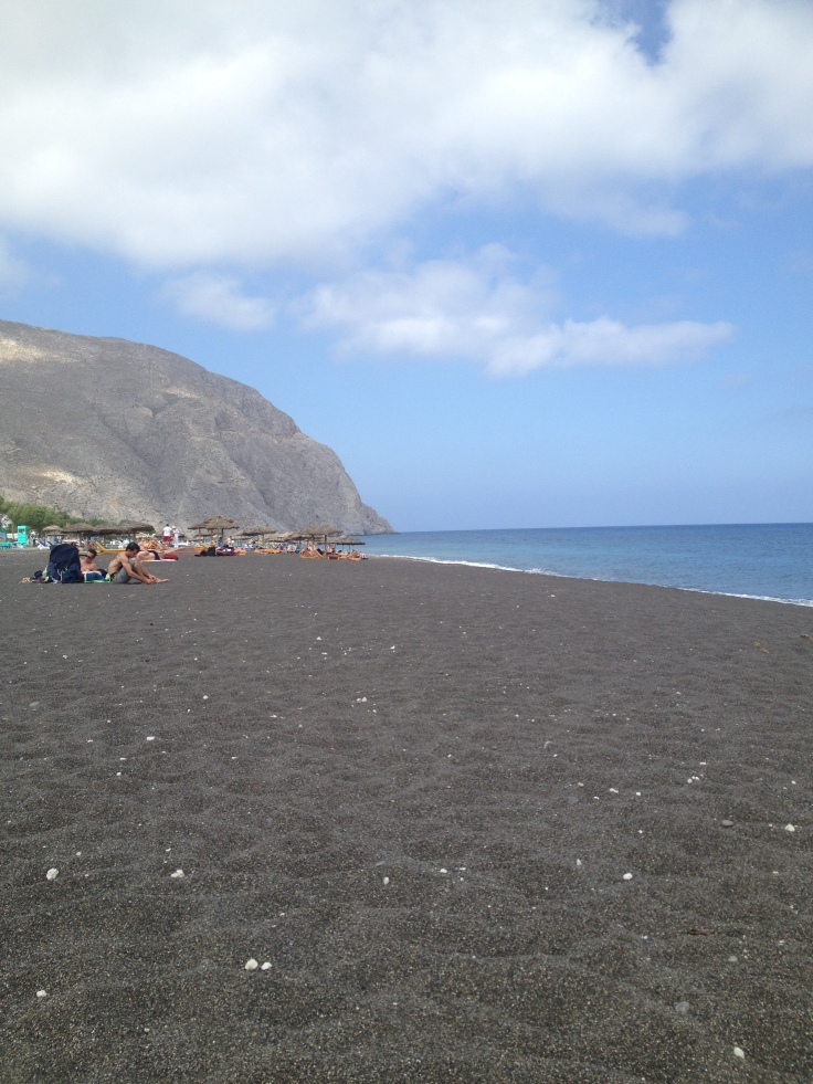 Black sand beaches on Santorini