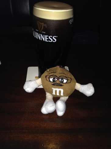 Ms Brown enjoying some Guinness, Ireland
