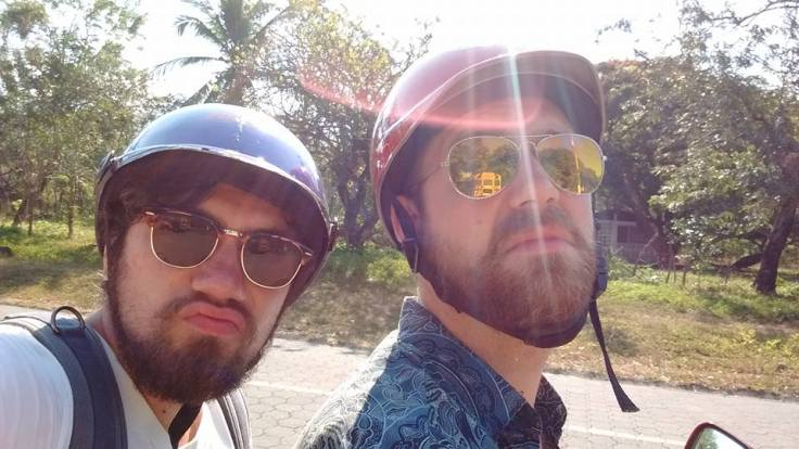 Me and my friend riding on a borowed scooter