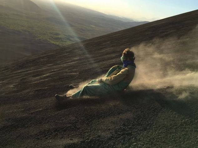 My friend Volcano boarding in Leon