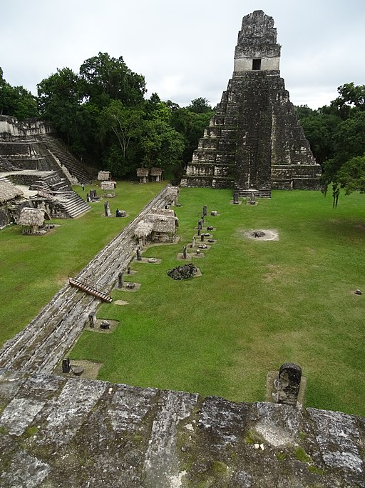 View_over_Gran_Plaza_with_Templo_I_at_Rear_-_From_South_Acropolis_-_Tikal_Archaeological_Site_-_Peten_-_Guatemala_(15869434691)